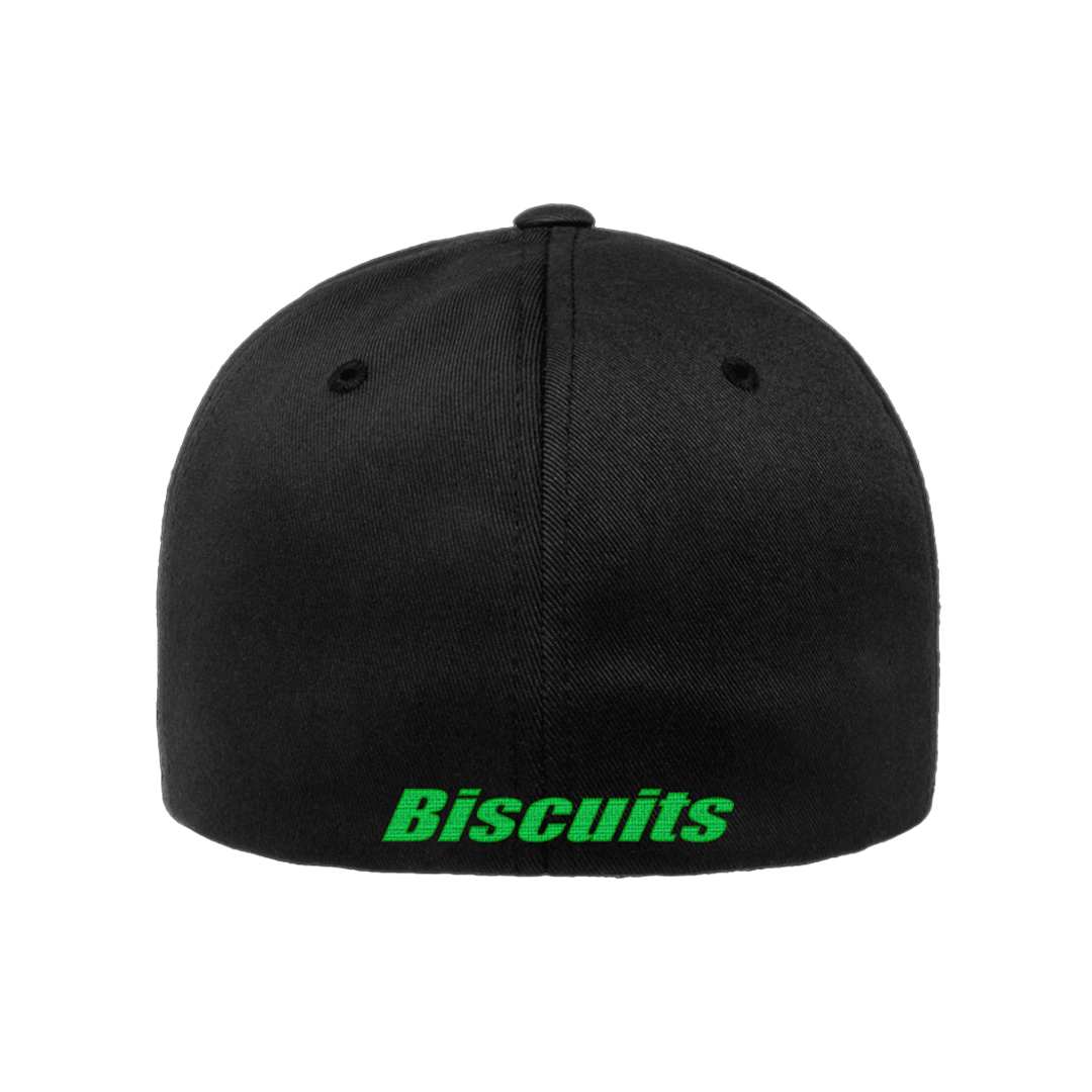 Disco Biscuits Logo Flexfit Black Lime Green Back