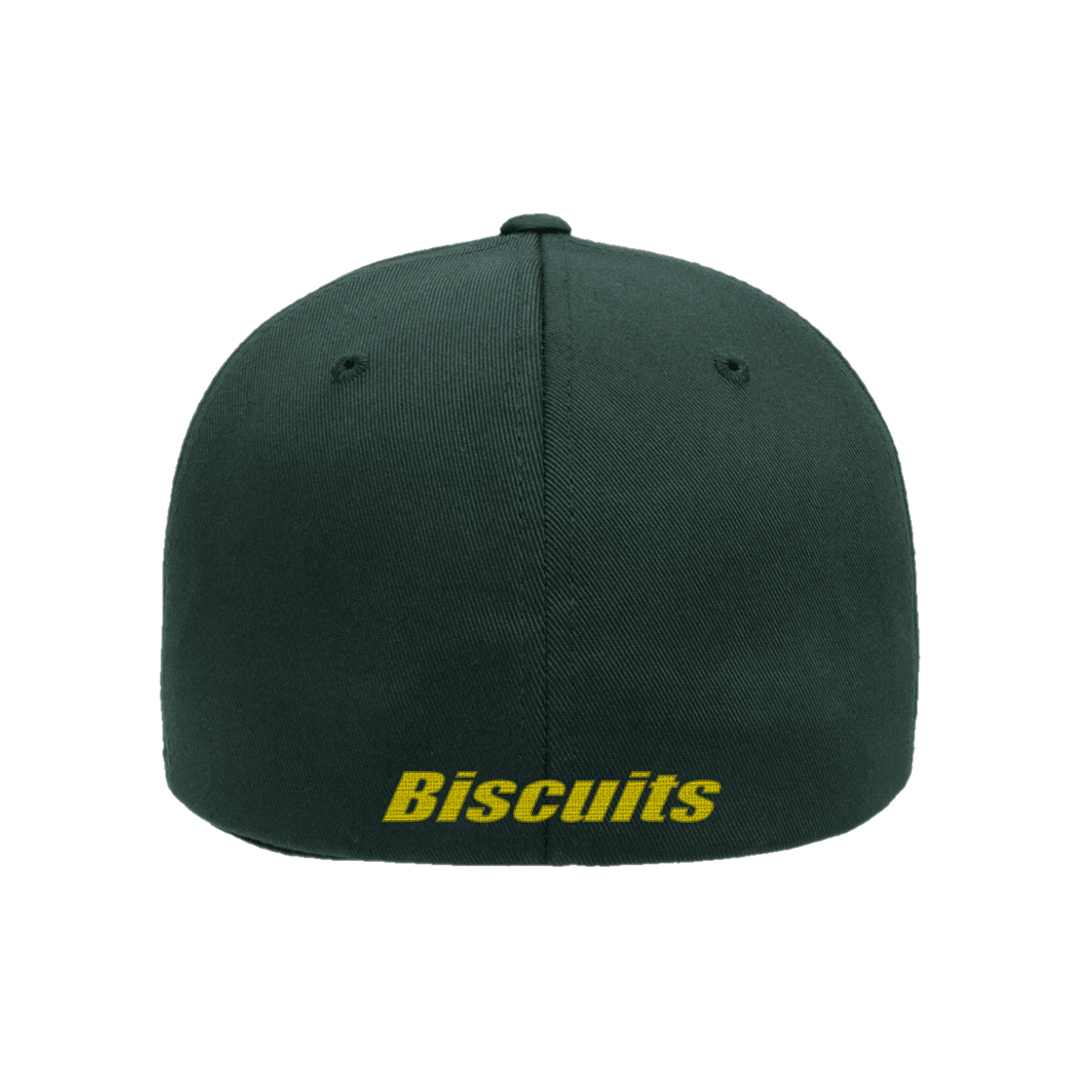 Disco Biscuits Logo Flexfit Spruce Yellow Back