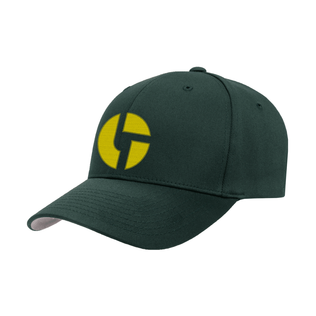 Disco Biscuits Logo Flexfit Spruce Yellow Front