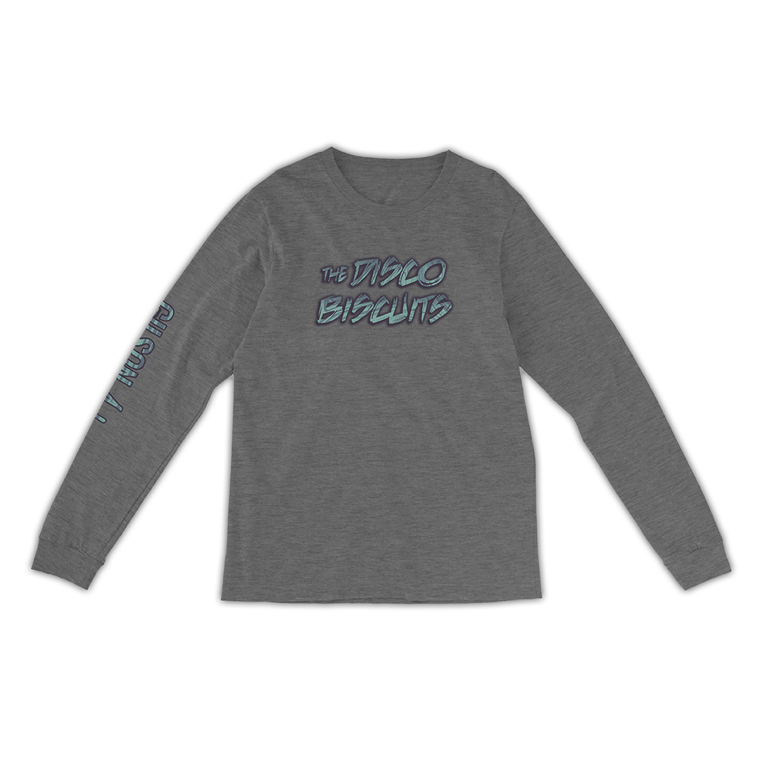 Disco Biscuits Gilson Swirl Logo Heather Grey Unisex Longsleeve Front