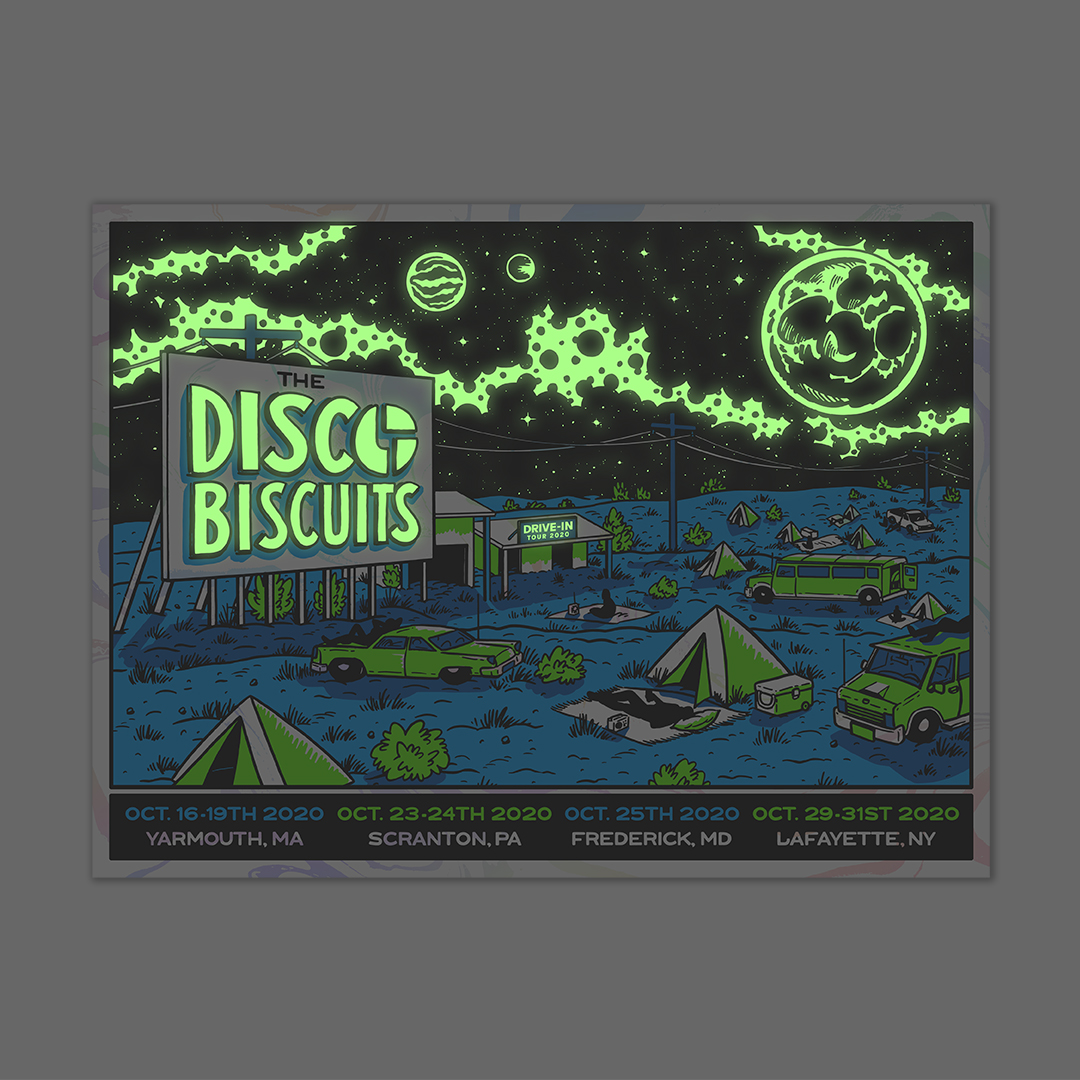 The Disco Biscuits Tour Poster White Foil Glow In The Dark