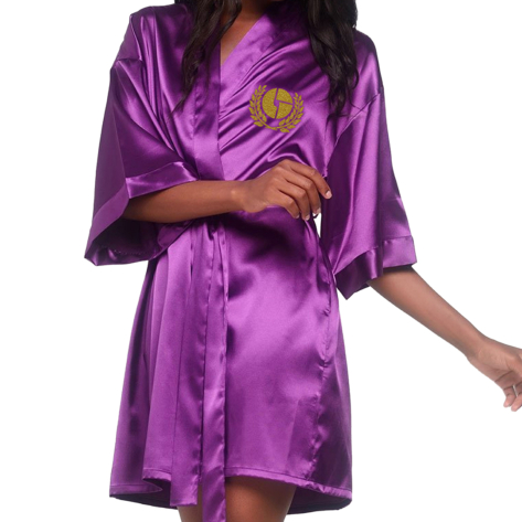 Ladies Logo Crest Satin Purple Robe