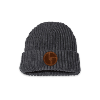 Logo Leather Patch Beanie