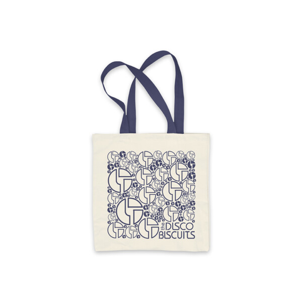 Logo Pattern Navy Tote Bag