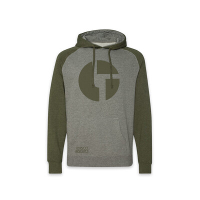 Logo Raglan Gunmental Heather Army Pullover