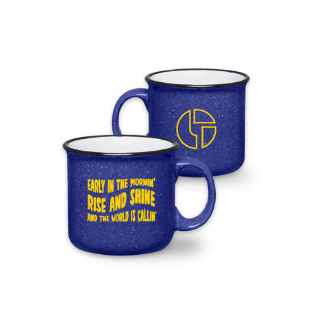 Rise and Shine Retro Campfire Mug Royal Blue