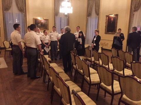 Professor Mead takes a few minutes to speak with cadets from West Point