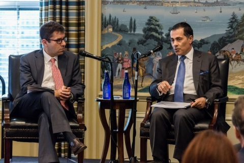 Drs. Steven Cook (l.) and Vali Nasr (r.) engage on the future of the Middle East